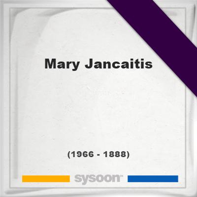 Headstone of Mary Jancaitis (1888 - 1966), memorial.
